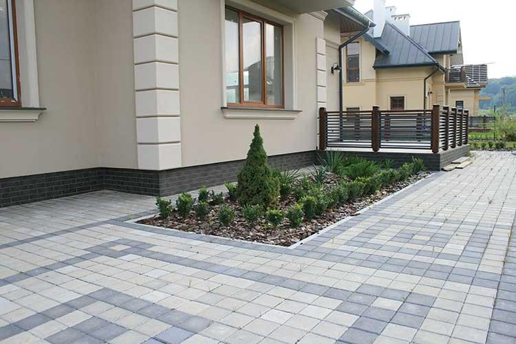 Тротуарна плитка квадрат 15-15 сірий та чорний